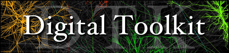 digital toolkit logo, featuring a visualization done with Cytoscape, one of the tools available in the digital toolkit from FAS Academic Technology and the Department of History